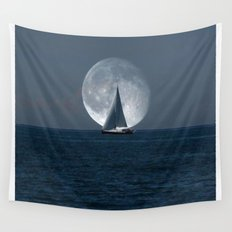 Sailing with a Romance Moon Wall Tapestry