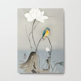 Kingfisher sitting on a lotus flower - Vintage Japanese Woodblock Print Art Metal Print