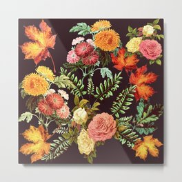Autumn Flowers and Leaves Metal Print