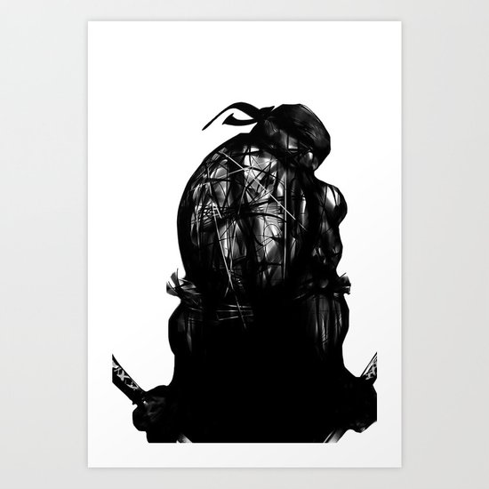 leonardo black and white Art Print