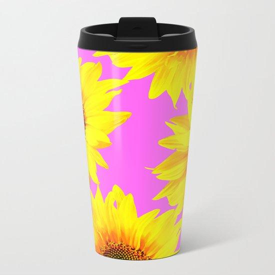 Large Sunflowers on a pink background - #Society6 #buyart Metal Travel Mug