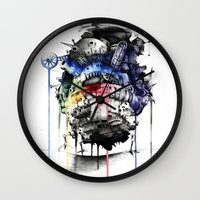 calcifer Wall Clocks featuring Howl's Moving Castle by Sandra Ink