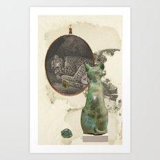 Green cat (sleeping) Art Print