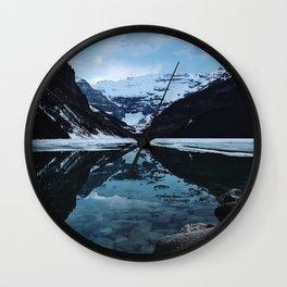 Lake Louise at sunset Wall Clock