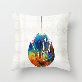 Colorful Horseshoe Crab Art by Sharon Cummings Throw Pillow