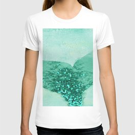 A Mermaid's Tail III, painterly coastal art, aqua metal T-shirt