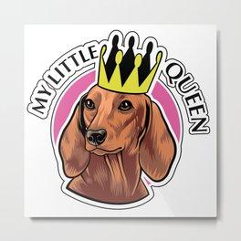 Brown dachshund queen Metal Print