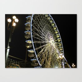 Ferris Wheel at Night in Nice, France Canvas Print