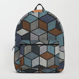Colorful Hexagon Pattern - Blue, Grey, Brown Backpack