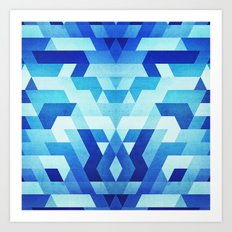 Abstract geometric triangle pattern (futuristic future symmetry) in ice blue Art Print