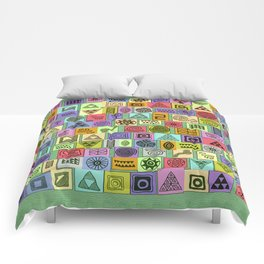 Tribal Prints in Colored Boxes Comforters