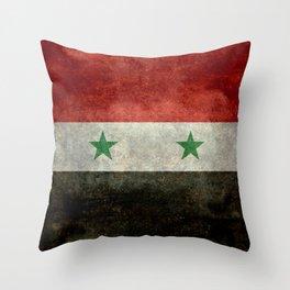 Flag of Syria, vintage retro style Throw Pillow