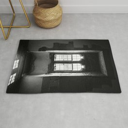 Shadow of Old Window | Castle Tower of London | Black & White | Travel Photography | Fine Art Photo Rug