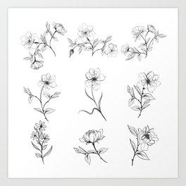Elegant vector rustic flowers, floral line Art Print