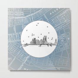 Pittsburgh, Pennsylvania City Skyline Illustration Drawing Metal Print