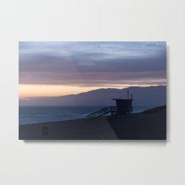 Lifeguard House Sunset - Ocean Sunset, Seascape, Landscape, Scenery, Beautiful Light Lavender Metal Print