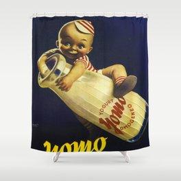 Vintage Yogurt Yomo Ogni Giorno Italy Wall Art Shower Curtain