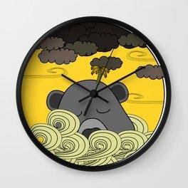 Lazy Grey Bear Island Floating Into The Storm Wall Clock