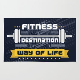 Fitness is not a destination it is a way of life Inspirational Quote Rug