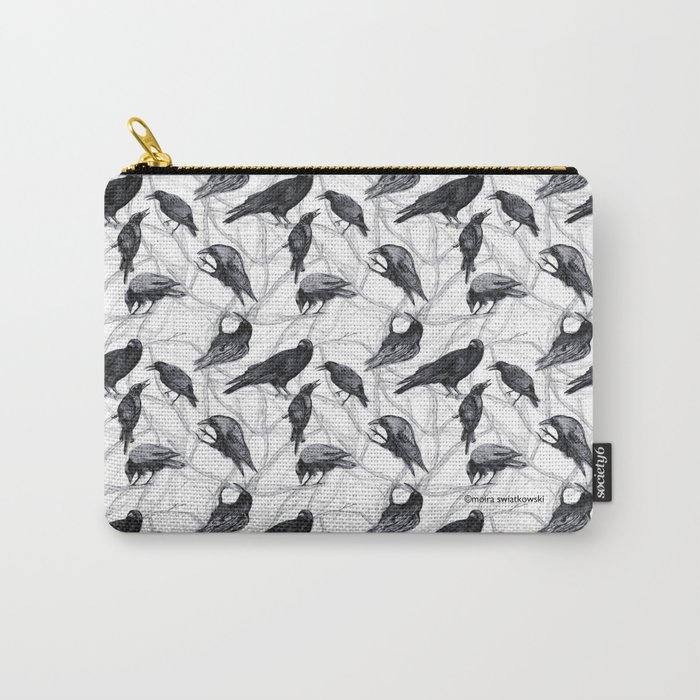 Crow Pattern Carry-All Pouch