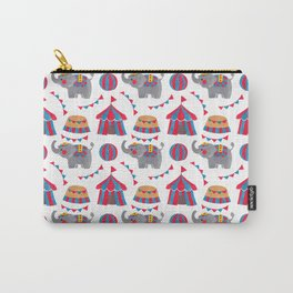 Colorful red blue gray watercolor elephant circus pattern Carry-All Pouch
