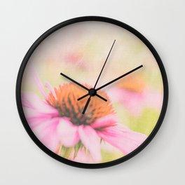 Pink Coneflower Revels Wall Clock