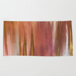 Blush with Gold Abstract Beach Towel