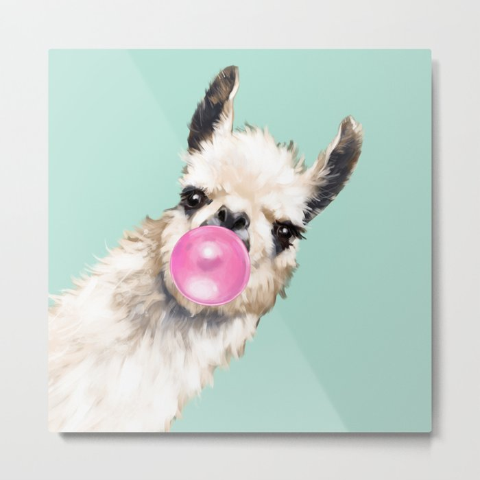 Bubble Gum Sneaky Llama in Green Metal Print