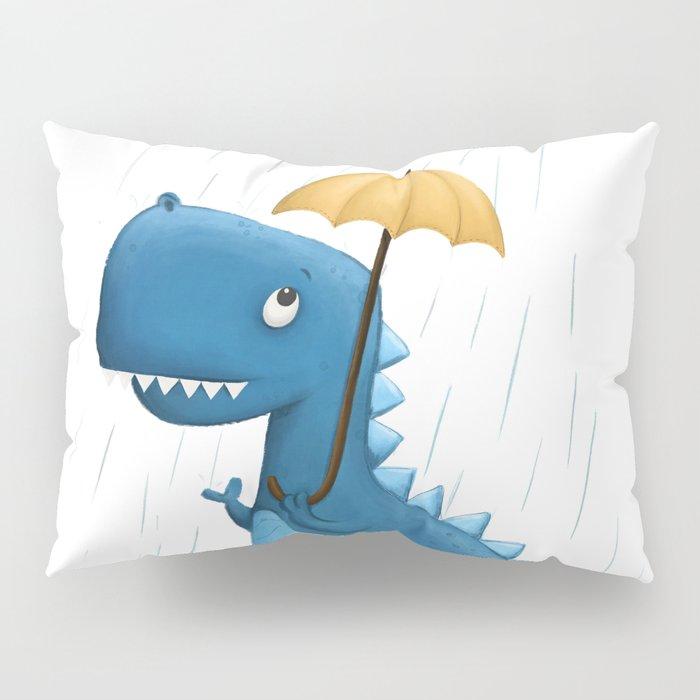 Dino in the Rain Illustration Pillow Sham