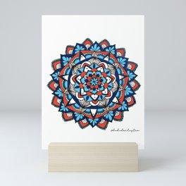 Mandala orange & blue Mini Art Print