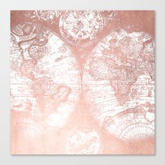 Rose Gold Pink Antique World Map by Nature Magick Canvas Print