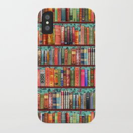 Vintage Books / Christmas bookshelf & holly wallpaper / holidays, holly, bookworm,  bibliophile iPhone Case