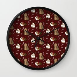Festive Christmas Guinea Pig and Candy Cane Pattern Wall Clock