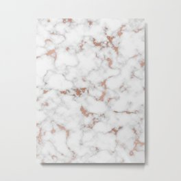 Marble Rose Gold Metal Print
