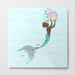 Beautiful Black Mermaid Metal Print