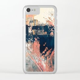 Hidden Gem [1]: an abstract mixed media piece in pink, blue, gold and white Clear iPhone Case
