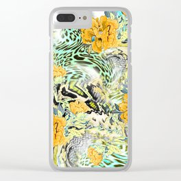 Leopard rounds silk scarf design Clear iPhone Case
