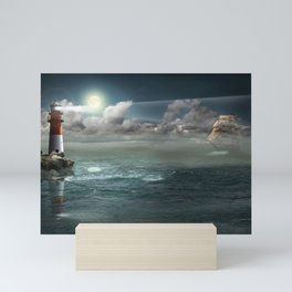 Lighthouse Under Back Light Mini Art Print