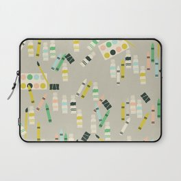 Cute Crayons, Paint Brush, Paint Tubes and Watercolor Boxes Laptop Sleeve