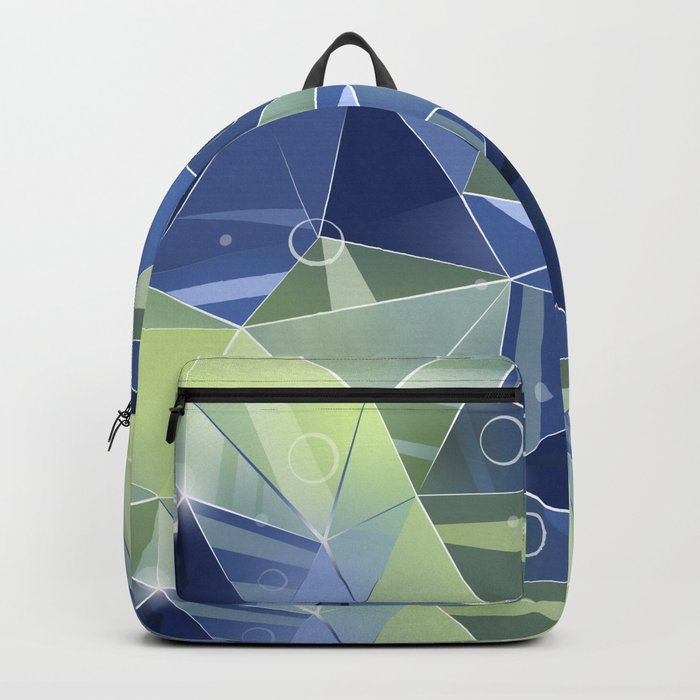 Polygonal pattern.Blue, green background. Backpack