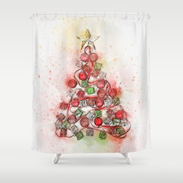 O'Christmas Tree of Lights Shower Curtain