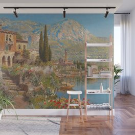 Lakeside View of Riva and Flower Gardens on Lake Garda, Italy landscape painting Wall Mural