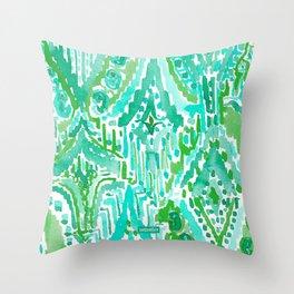 DROPS OF WONDER Green Ikat Tribal Throw Pillow