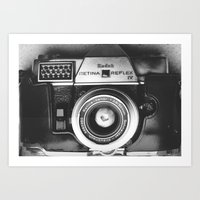 vintage camera Art Prints featuring Camera by Pauline Gauer