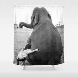 Odd Best Friends, Sweet Little Girl hugging elephant black and white photograph Shower Curtain