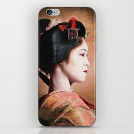 ' Beauty of Geisha ' - oriental japanese lady digital portrait painting iPhone Skin
