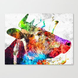Cow Profile Watercolor Grunge Canvas Print