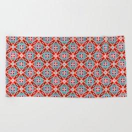 Retro Kitchen Check Cloth , Vintage Red & Blue Chequerboard Daisy flower Pattern Beach Towel