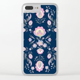 Folk Flowers in Pink and Indigo Clear iPhone Case