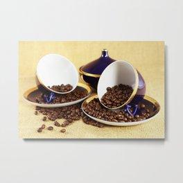 Blue coffee cups kitchen image Metal Print